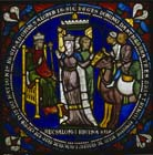 Solomon and Queen of Sheba, Poor Mans Bible window, 12th century stained glass, north choir aisle, Canterbury Cathedral, Kent, England, Great Britain