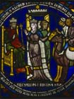 Solomon and the Queen of Sheba, 13th century stained glass, Poor Mans Bible window, Canterbury Cathedral, Kent, England, Great Britain