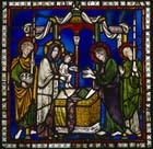 Presentation of Christ Child in the temple, Poor Mans Bible window, 12th century stained glass, north choir aisle, Canterbury Cathedral, Kent, England, Great Britain