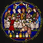 Marriage at Cana, Poor Mans Bible window  2, 13th century stained glass, north choir aisle, Canterbury Cathedral, Kent, England, Great Britain
