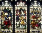 Elijah fed by angel, Naaman washing in Jordan, Elisha and miracle of loaves, window 22, twentieth century, south aisle, Bury St Edmunds Cathedral, Suffolk, England