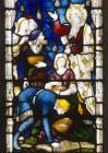 Manna from Heaven, detail from window 26, twentieth century, St Edmundsbury Cathedral, Bury St Edmunds, Suffolk, England