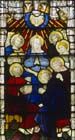 Pentecost, 19th century stained glass, St Edmundsbury Cathedral, Bury St Edmunds, Suffolk, England, Great Britain