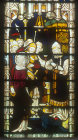 Christ before Caiaphas, window 8, nineteenth century, south aisle, St Edmundsbury Cathedral, Bury St Edmunds, Suffolk, England