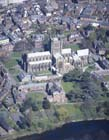 Hereford Cathedral, aerial view from the south, Herefordshire, England, Great Britain