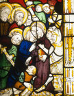 Betrayal, detail of fifteenth century North East window, Church of St James the Great, St Kew, Cornwall, England