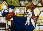 Nativity, detail of fifteenth century North East window, Church of St James the Great, St Kew, Cornwall, England