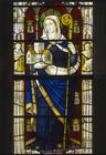 St Bridget, 20th century stained glass by Burlinson and Grills, south aisle of nave, Exeter Cathedral, Devon, England, Great Britain