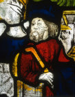 Joseph, detail of fifteenth century North East window, Church of St James the Great, St Kew, Cornwall, England