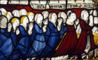 Donor with his wife and twelve children, fifteenth century, Church of St James the Great, St Kew, Cornwall, England
