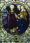 Woman with issue of blood healed by touching Christs garment,19th century stained glass, Lancaster Infirmary, Lancashire, England, Great Britain