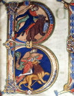 David and the bear, top, and David and the lion, bottom, 12th century illuminations from the Winchester Bible, Winchester Cathedral Library, England