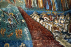 Romania, Bukovina, Voronet Church Monastery, Last Judgement painting on west exterior wall  16th century,  animals with prey and river of blood