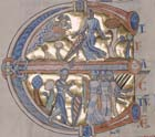 Joshua, illuminated capital from the Winchester Bible, 12th century, Winchester Cathedral Library, Hampshire, England, Great Britain