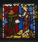 First temptation of Christ, stones to loaves, stained glass panel 1223 from Troyes Cathedral, France, now in Victoria and Albert Museum, London, England