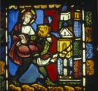 Second temptation of Christ, the devil carrying Christ to a high place, stained glass panel 1223 from Troyes Cathedral, France, now in Victoria and Albert Museum, London, England