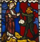 First temptation of Christ by the Devil, stained glass 1223, from Troyes Cathedral France, now no. 107-1919 the Victoria and Albert Museum, London, England, Great Britain