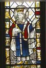 Edward the Confessor, 15th century stained glass, Church of St Michael, Doddiscombleigh, Devon, England, Great Britain