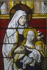 St Anne with the Virgin and Child, 16th century Flemish stained glass panel,  Lady Chapel, Exeter Cathedral, Devon, England, Great Britain