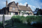 Village stocks and pond, Albury Village, Hertfordshire, England