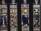 St Etheldreda, St Swithin, St Edward and St Oswald, 19th century stained glass by Christopher Whall, Gloucester Cathedral, England, Great Britain