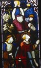 St Stephen being stoned, 19th century stained glass, Norwich Cathedral, Norfolk, England, Great Britain