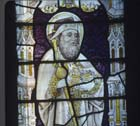 St James the Great, 15th century stained glass panel, Church of St Mary, Stowting, Kent, England, Great Britain