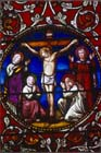 Crucifixion, 19th century stained glass, Lincoln Cathedral, Lincolnshire, England, Great Britain