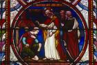 Christ cures the Centurions servant, 19th century stained glass, Lincoln Cathedral, Lincolnshire, England, Great Britain