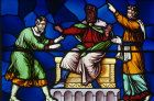 St Paul blinds the magician Elymas in Cyprus Lincoln Cathedral 19th century