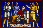 St Peter in prison, 19th century stained glass, Lincoln Cathedral, Lincolnshire, England, Great Britain