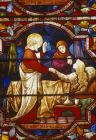 Jesus raising Jairus daughter, 19th century stained glass, Lincoln Cathedral, Lincolnshire, England, Great Britain