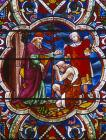 Return of the Prodigal Son, 19th century stained glass,  Lincoln Cathedral, Lincolnshire, England, Great Britain