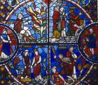 Four scenes from the Moses window, 19th century stained glass,  Lincoln Cathedral, Lincolnshire, England, Great Britain