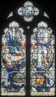 Life of Christ, twentieth century window by Christopher Webb, St Albans Cathedral window, Hertfordshire, England