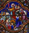 Crossing of the Red Sea, 19th century stained glass, St Albans Cathedral and Abbey Church, Hertfordshire, England, Great Britain