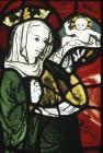 Virgin and child, 14th century stained glass, Church of St Mary, Stowting, Kent, England, Great Britain
