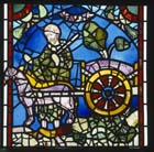St Nicholas, posthumous miracle, 12th century stained glass, York Minster, Yorkshire, England, Great Britain