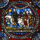 Pilgrims on the road to Canterbury, 13th century stained glass, Trinity Chapel, Canterbury Cathedral, Kent, England, Great Britain