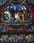 Pilgrims on the road to Canterbury, 13th century roundel, south aisle, Trinity Chapel, Canterbury Cathedral, Kent, England, Great Britain