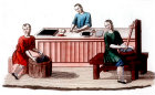 Chinese ink making, engraving from La Chine en miniature, 1811, volume II, by Jean Baptiste Joseph de la Martiniere