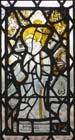 St Bernard of Clairvaux, 15th century stained glass panel, Church of St Mary, Stoke d
