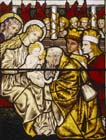 Adoration of the Kings, 19th century stained glass by Edward Burne-Jones, Church of St Nicholas, Bromham, Wiltshire, England, Great Britain