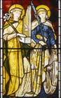 St Cecilia and St Catherine of Alexandria, 19th century stained glass by Edward Burne-Jones, Church of St Nicholas, Bromham, Wiltshire, England, Great Britain