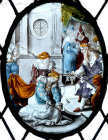 Esther with two maids before King Artaxerxes, seventeenth century Flemish roundel, St Mary