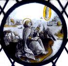 St John the Evangelist writing Book of Revelations on Patmos, seventeenth century Flemish roundel, St Mary