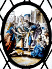 Giving water to the thirsty, one of seven acts of mercy, seventeenth century Flemish oval panel, vestry of St Mary