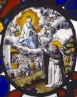 St Dominic, founder of Order of the Rosary, being handed rosary by Virgin Mary, 17th century Swiss stained glass roundel, Church of St Peter, Nowton, Suffolk, England, Great Britain