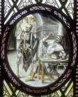 Grim Reaper accosting a victim, sixteenth to seventeenth century Flemish roundel, St Mary
