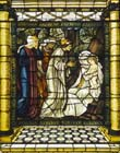 Adoration of the Magi by Edward Burne-Jones, 19th century stained glass, Castle Howard, Yorkshire, England, Great Britain
